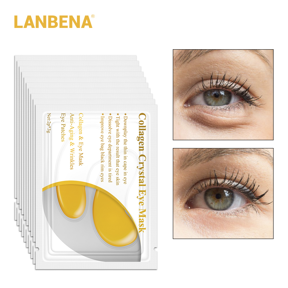 10 Pairs = 20pcs Lanbena 24 K Gold Eye Mask Collagen Face Care Ageless Anti Aging Eye Bags Dark Circles Moisturizing Skin Care