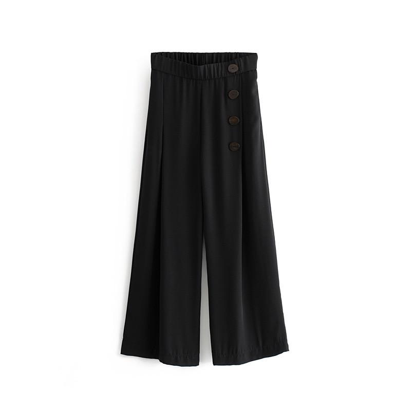 Summer Women Casual Wide Leg   Pants   Ankle Length Polka Dot High Waist   Pants   Streetwear Loose Trousers