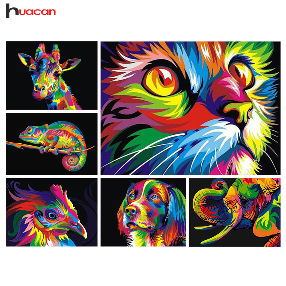 Huacan Diamond Painting Cat Diamond Broderi Animal Series Resin Mosaic Full Square Kits Needlework 5D DIY Hjemmeinnredning