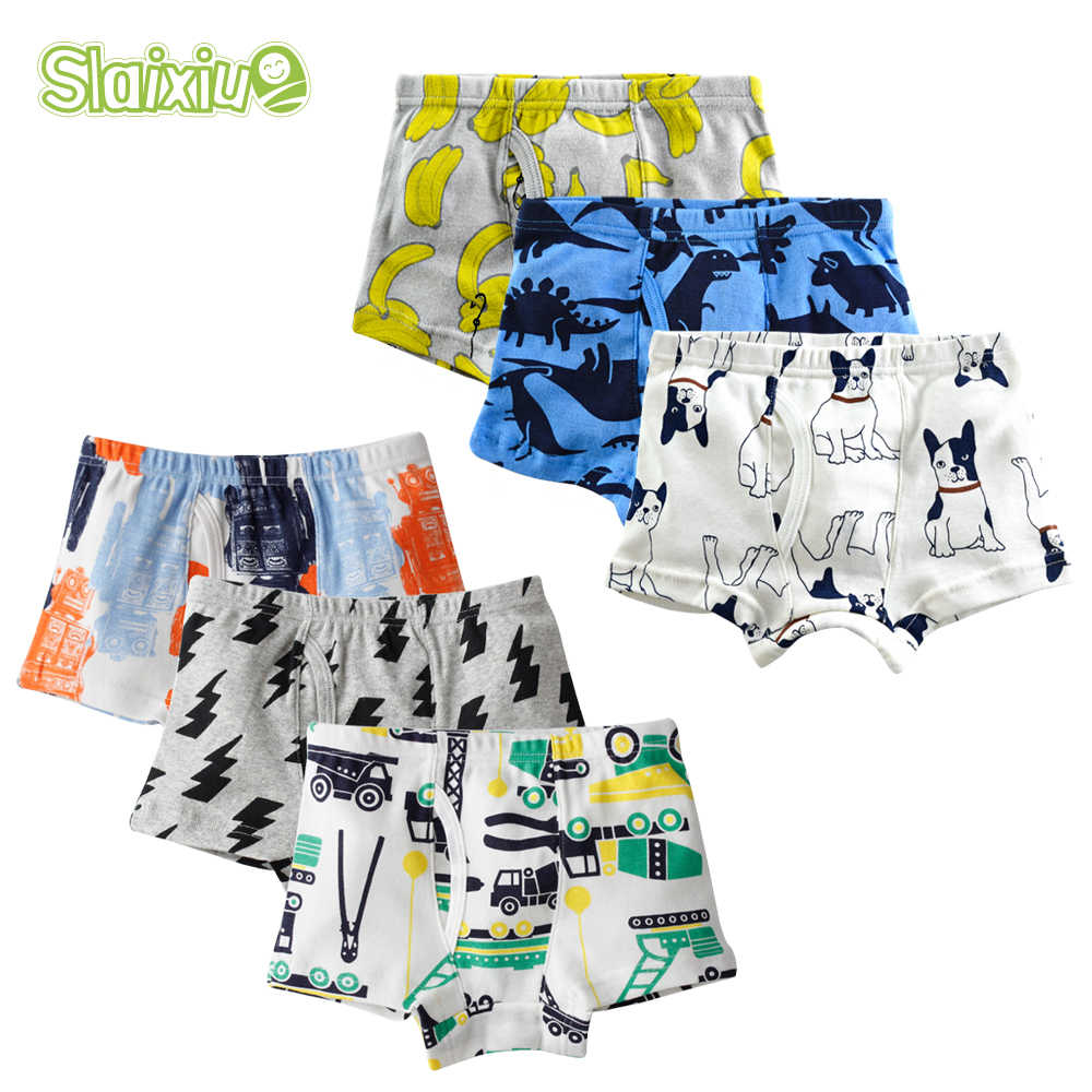 6Pcs/lot Cotton kid underwear boys boxer Cartoon Children Panties Teenager briefs for boy pantie for 2-10years Underpants