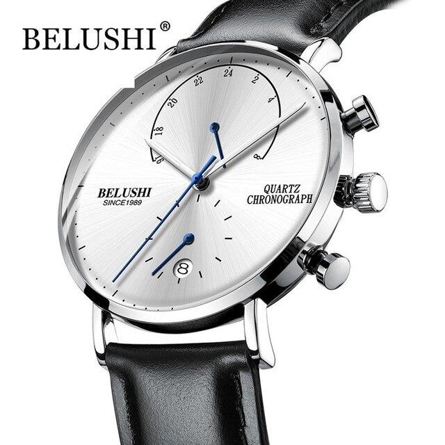 นาฬิกาผู้ชาย2020โมเดิร์นหนังผู้ชายนาฬิกาข้อมือควอตซ์Casual Businessนาฬิกาข้อมือบุรุษแบรนด์Belushiนาฬิกา