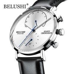 Homens relógios à prova dwaterproof água pulseira de couro fino quartzo casual negócios relógio de pulso dos homens marca superior belushi masculino relógio 2018 moda