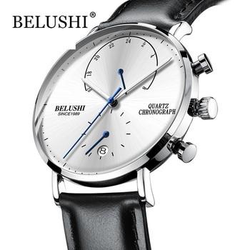 Męskie zegarki 2020 nowoczesne męskie skórzane zegarki na rękę Slim Casual Business męskie zegarki na rękę Top marka Belushi zegarek sportowy tanie i dobre opinie 24cm Biznes QUARTZ 3Bar Klamra CN (pochodzenie) Stop Hardlex Kwarcowe Zegarki Na Rękę Papier 41mm Sure 20mm ROUND Kompletna kalendarz
