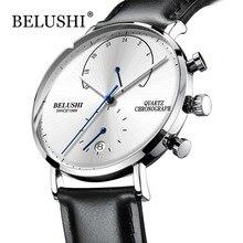 Мужские водостойкие часы кожаный ремешок тонкий кварцевые повседневные деловые мужские наручные часы лучший бренд Belushi мужские часы 2018 Мода