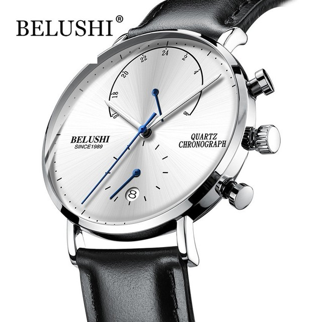 Mens Waterproof Watches Leather Strap Slim Quartz Casual Business Mens Wrist Watch Top Brand Belushi Male Clock 2018 Fashion
