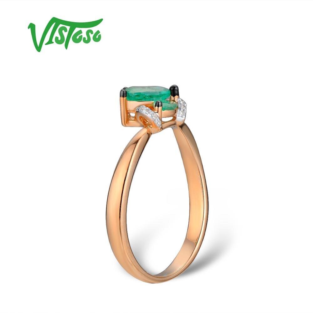 VISTOSO Gold Ringe Für Frauen Echte 14K 585 Rose Gold Ring Magie Funkelnden Smaragd Diamant Engagement Jahrestag Edlen Schmuck-in Ringe aus Schmuck und Accessoires bei  Gruppe 3