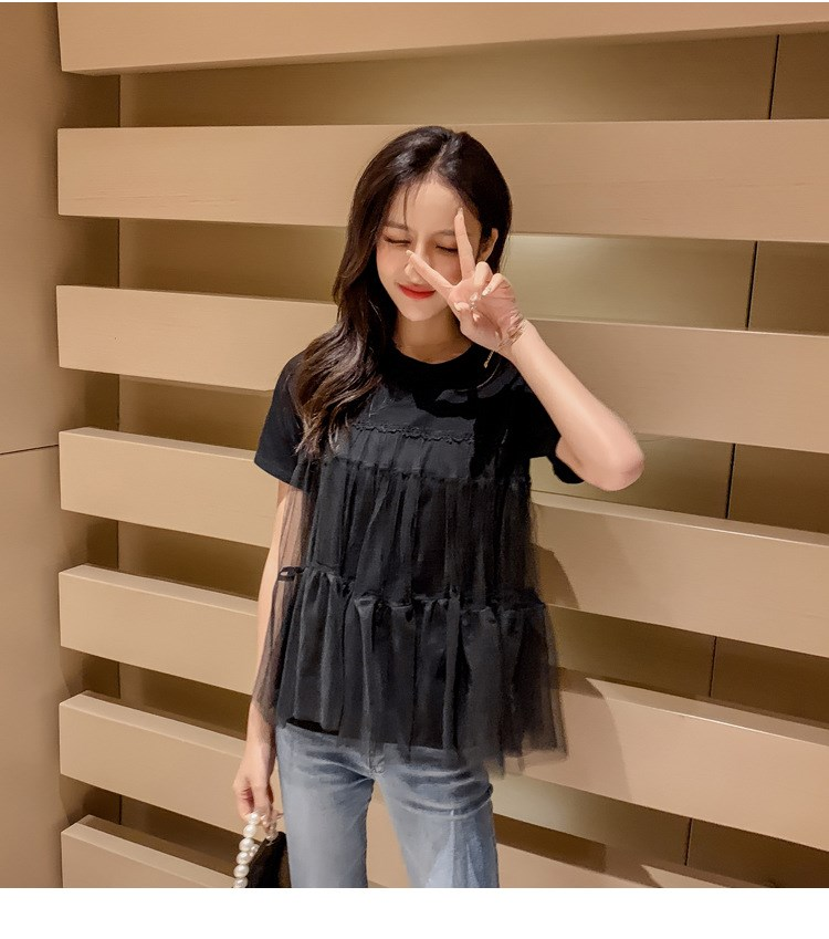 2019 Summer New Women Fashion Lace Mesh Patchwork T-Shirts Casual Short Sleeve Tees Solid Ladies Loose O Neck Top
