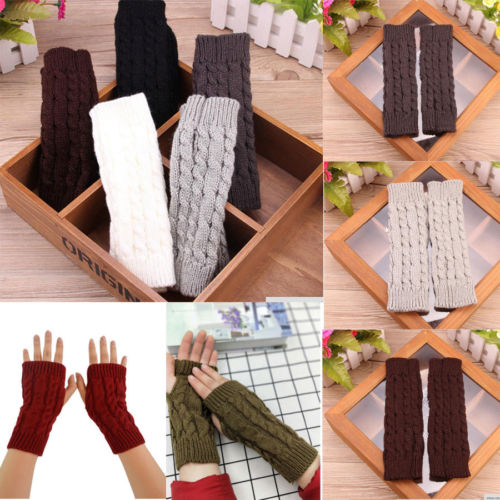 Soft Mittens Arm Warmer Protected Women Mens Fingerless Knitted Long Gloves