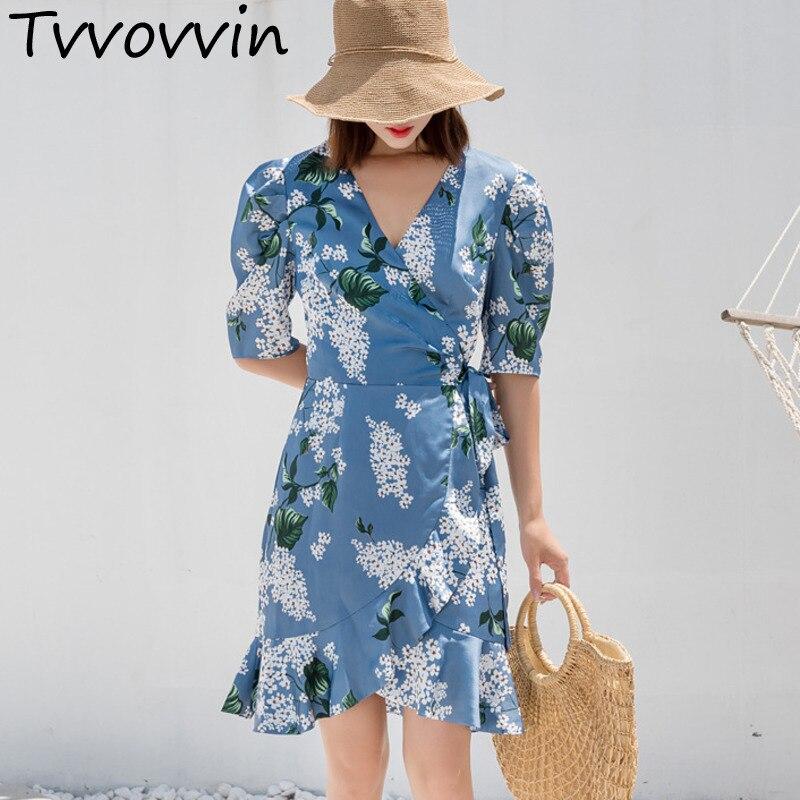 3ffab98bb 2019 nueva moda mujer ropa cuello en V Media manga azul flor estampado  trompeta volantes vestido ...