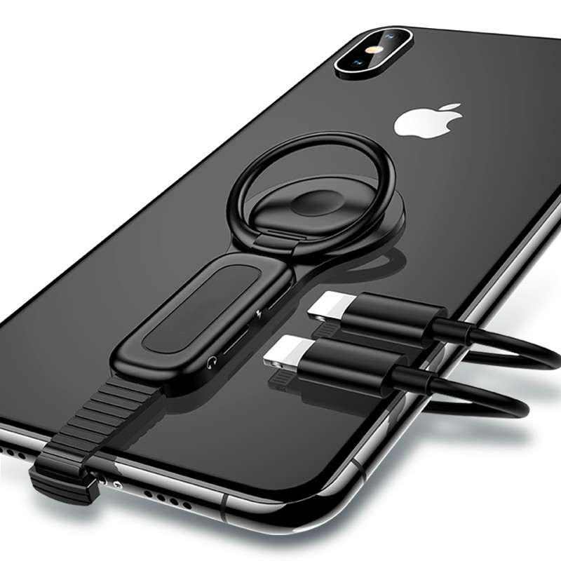 For Dual Lightning Ring Holder Adapter for iPhone AUX to 3