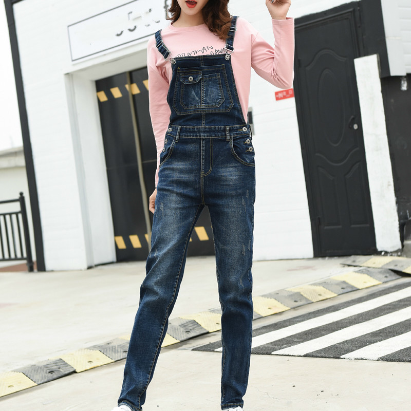 Women Jumpsuit Denim Overalls 2019 Spring Autumn Fashion Strap Ripped Pockets Full Length Jeans Jumpsuit Plus