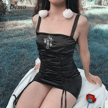 Gothic Sexy Soft Flower Embroidery Party Black Casual Dress Women Vintage Satin Sleeveless Ladies