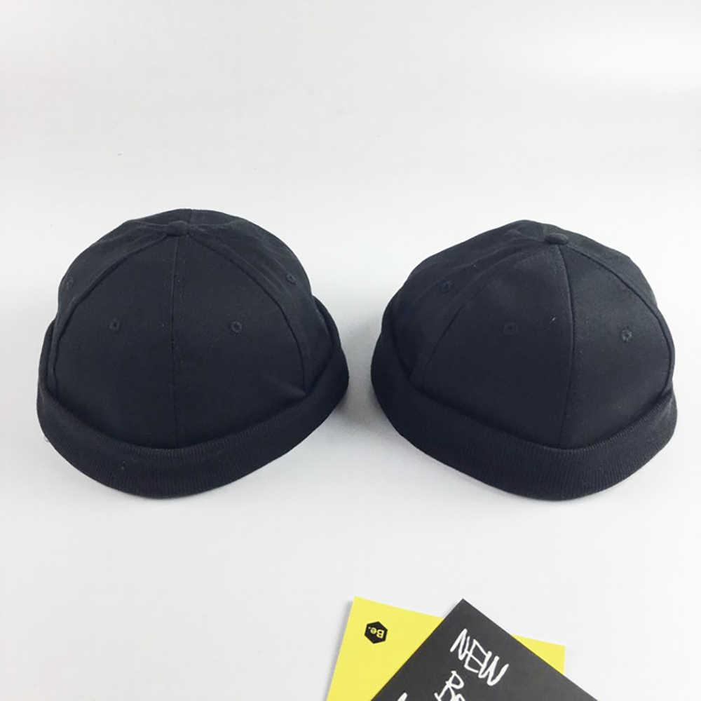 af401b5f Men Adjustable Brimless Cotton Caps Vintage Crimped Cap Street Docker  Beanie Hat Unisex Solid Multipurpose Hats Summer Casual