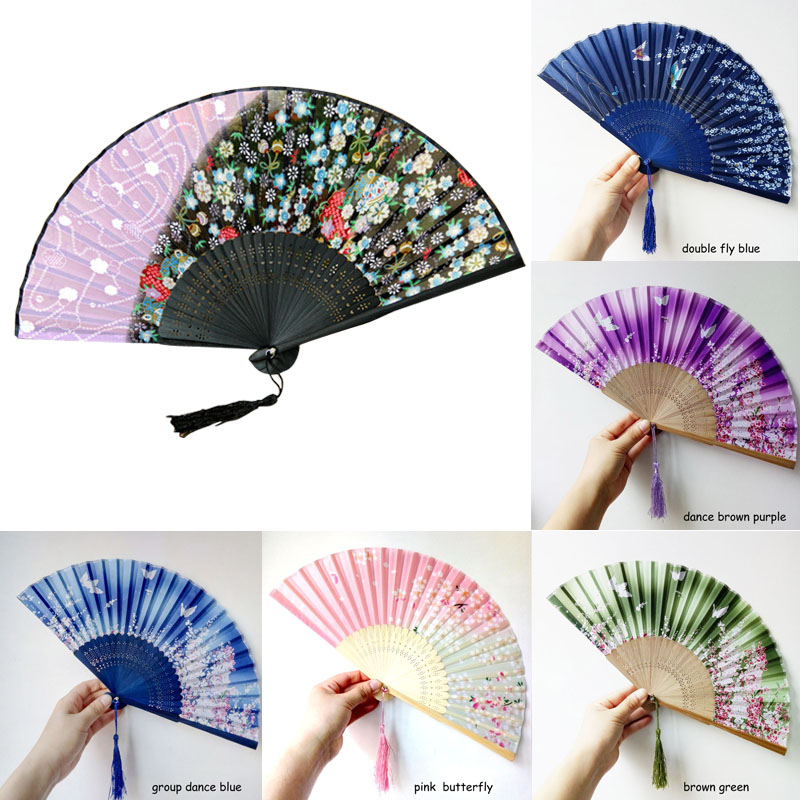 Color : Four Colors Fan Dance Silk Hollow Printing and Dyeing Process Wedding Birthday Gift