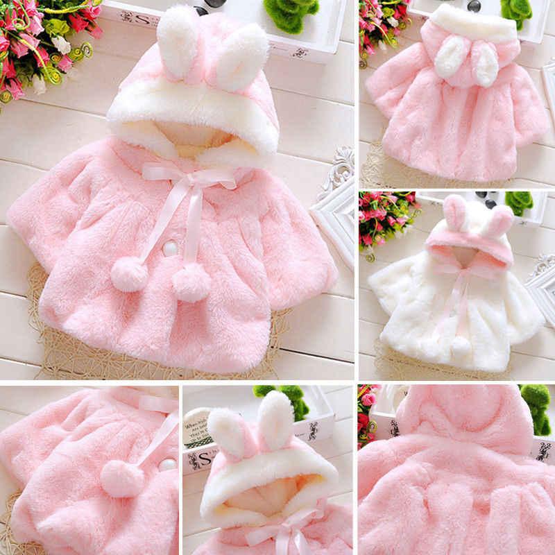 Abrigo con capucha de orejas de conejo para niñas de niños lindos chaqueta de lana de manga larga con estampado de animales