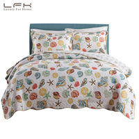 LFH Super Soft Coral Ocean Bedding Set Seashells Beach Theme Patchwork Quilt Set Comforter Set 1 Quilt & 2 Shams Shell Queen