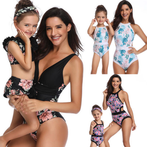 Emmababy Family Matching Swimwear Mother Daughter Women Kids Floral Two Piece Bikini UK
