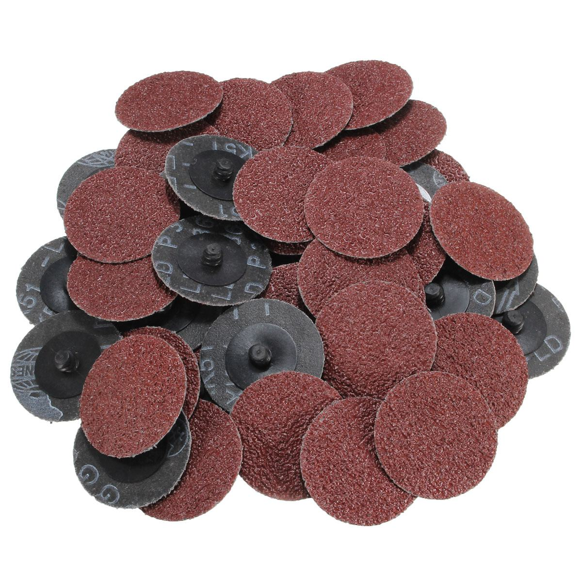 """50 Pc 120 Grit  2/"""" Roloc Type Roll On Lock Sanding Disc w// Mandrel Made in USA"""