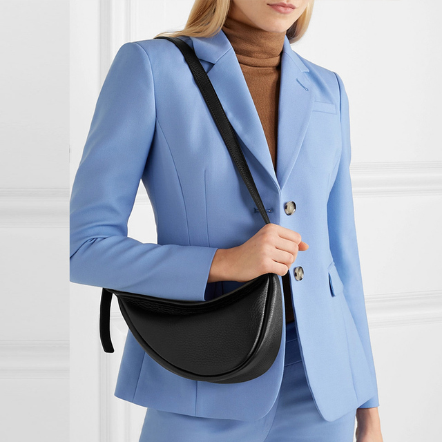 [Super Seabob] 2020 Spring Woman New Wine Red Black Color Wide Single Strap Zipper Half Moon PU Leather Chestbag All Match LI812 2