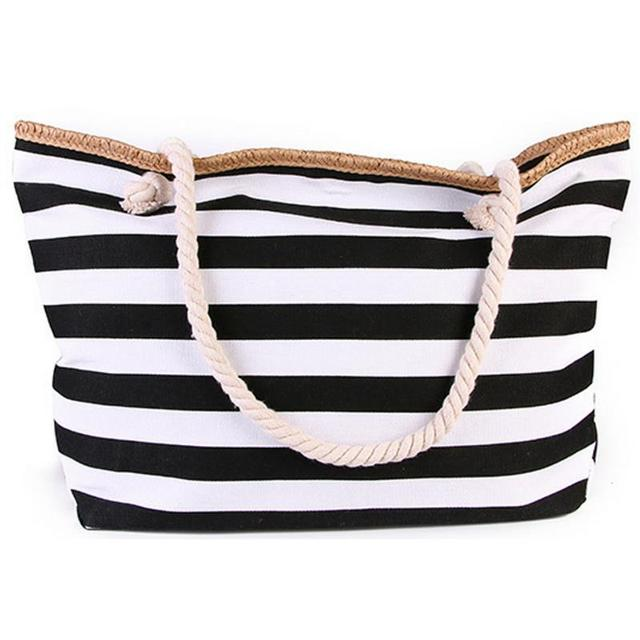 2019 New Beach Tote Bag Fashion Women Canvas Summer Large Capacity Striped Shoulder Bag Tote Handbag Shopping Shoulder Bags 1