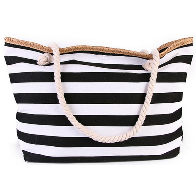 Новинка 2019, пляжная сумка-тоут, модная женская холщовая летняя вместительная сумка через плечо в полоску, сумка-тоут, сумка для покупок, сумк...