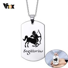Vnox Sagittarius Constellation Necklaces for Men Woman Retro Astrology 12 Horoscopes Zodiac Pendant Free Custom Engraving Gifts(China)