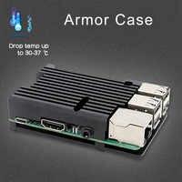 Boîtier armure Raspberry Pi, boîtier en Aluminium avec Kit double ventilateur/boîtier + dissipateur thermique pour Raspberry Pi 4 modèle B/3 modèle B + Plus/3B