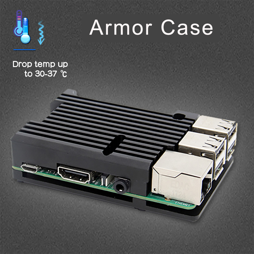 Raspberry Pi Armor Case, Aluminium Case With Dual Fan Kit / Enclosure+Heatsink For Raspberry Pi 4 Model B / 3 Model B+Plus/3B