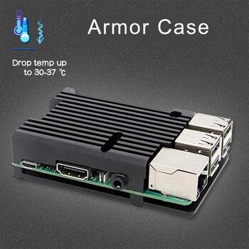 Raspberry Pi Caso Armadura, caso de alumínio com Ventilador Duplo Kit/4 Gabinete + Dissipador de Calor para Raspberry Pi Modelo B/3 Modelo B + Plus/3B