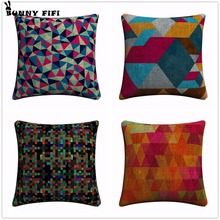 Colorful Geometric Personalized Decorative Pillow Covers For Sofa Home Decor Linen Cushion Case 45x45cm Throw Pillow Cases new year buck flower bird decorative pillow covers for sofa home decor linen cushion case 45x45cm throw pillow cases