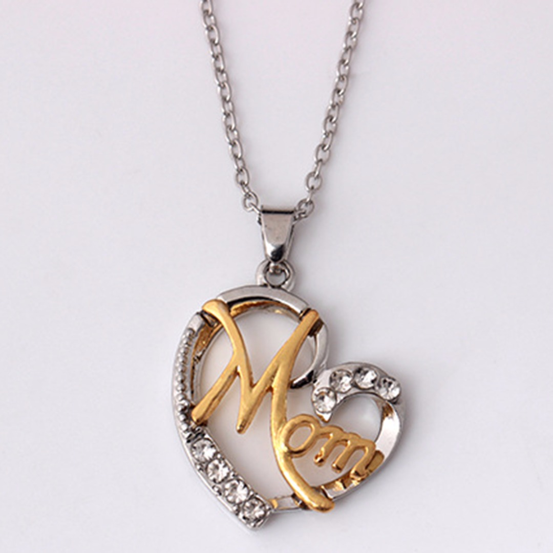 """Sainio Lover Heart Pendant Necklace Letter """"MOM"""" Inlaid Crystal Chain Necklace Mother's Day Gift Birthday Gift Women Jewlery"""