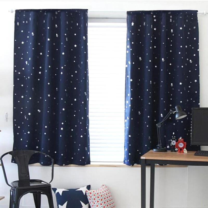 Shiny Star Blackout Curtains For Kids Boy Girl Bedroom Living Room Window Curtains Blind Shading Screen Drapes 100x130cm