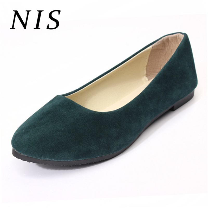 NIS Faux   Suede     Leather   Women Flat Shoes Woman Loafers Boat Ballet Slip On Flats Single Loafers Casual Shoes Size 37-41 9 Colors
