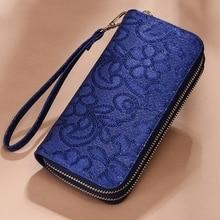 Womens Wallet Long Metal Large Capacity Pattern Double Zipper Bag Clutch