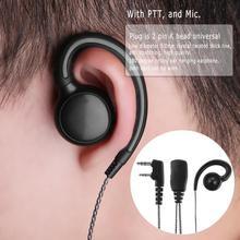 Aloyseed 180 derece döner kulak kancası kulaklık kulaklık Mic ile PTT Motorola baofeng 2 yönlü telsiz Walkie Talkie UV 5X CB radyo