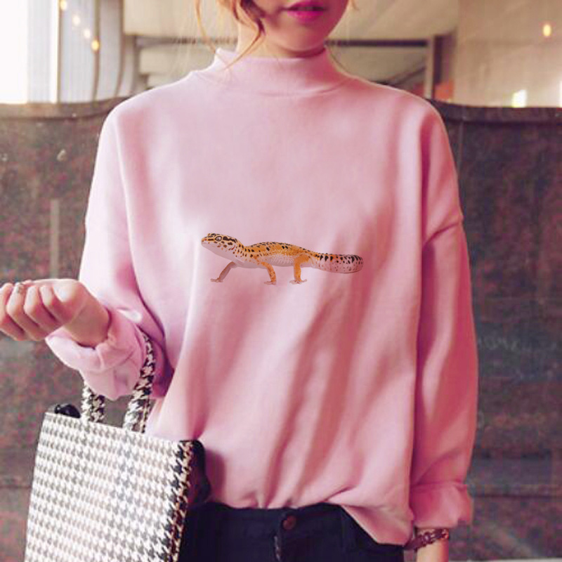 Leopard Gecko Hoodies Women Winter Korean Style Fleece Warm Kawaii Japanese Sweatshirt Kawaii Clothes Japanese Streetwear