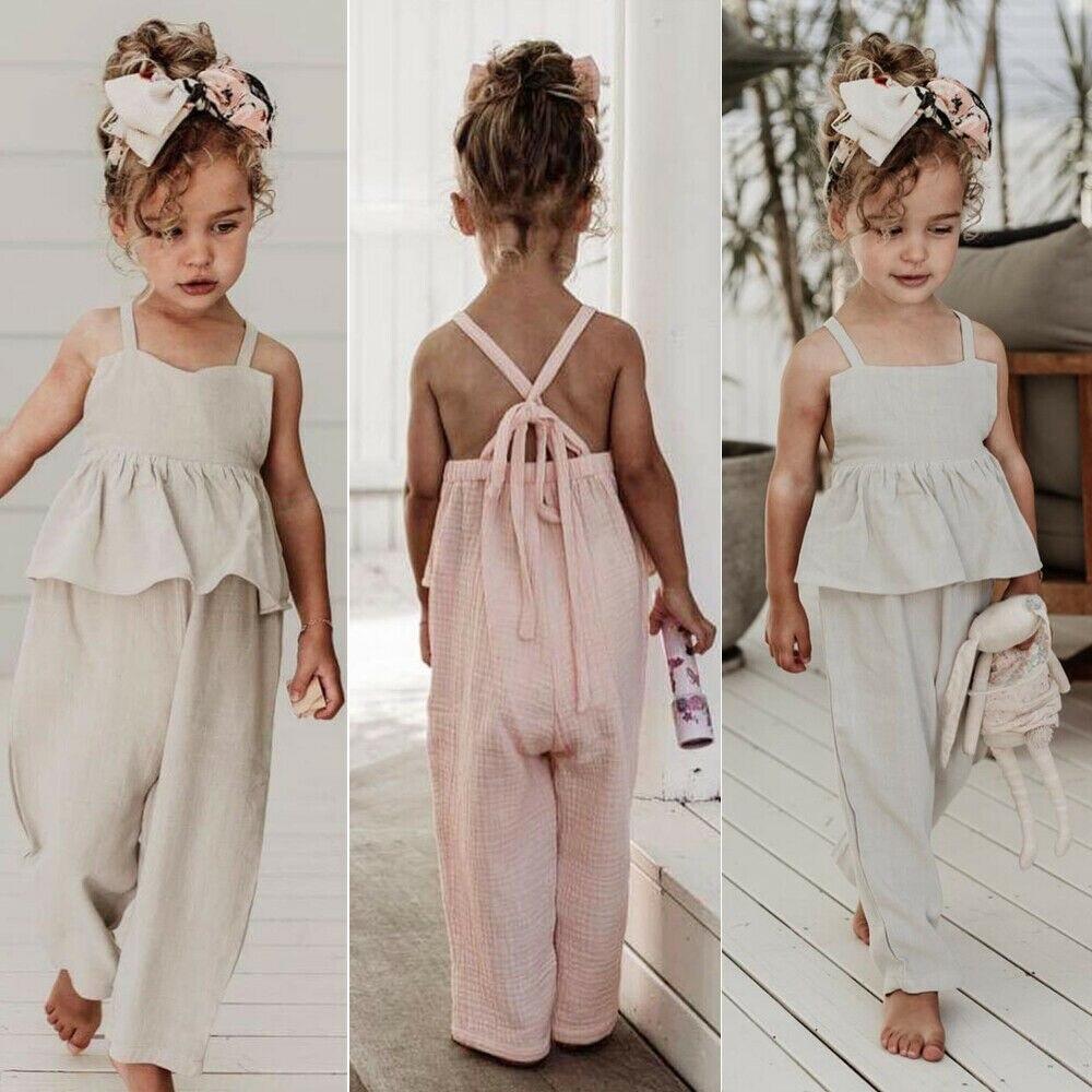 Crianças do bebê meninas macacão sem mangas sem costas macacão da criança menina macacão perna larga calças meninas roupas de verão