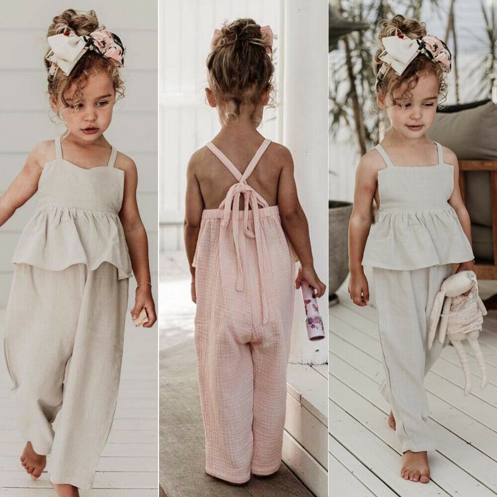 1-6 Years Kids Baby Girls Overalls Sleeveless Backless Romper Toddler Girl Jumpsuit Wide Leg Pants Trousers Baby Girls Overalls