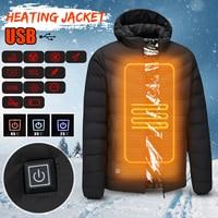 Mens Winter Heated Safety Vest Jacket USB Hooded Work Heating Jacket Vest Coats Adjustable Temperature Control Safety Clothing