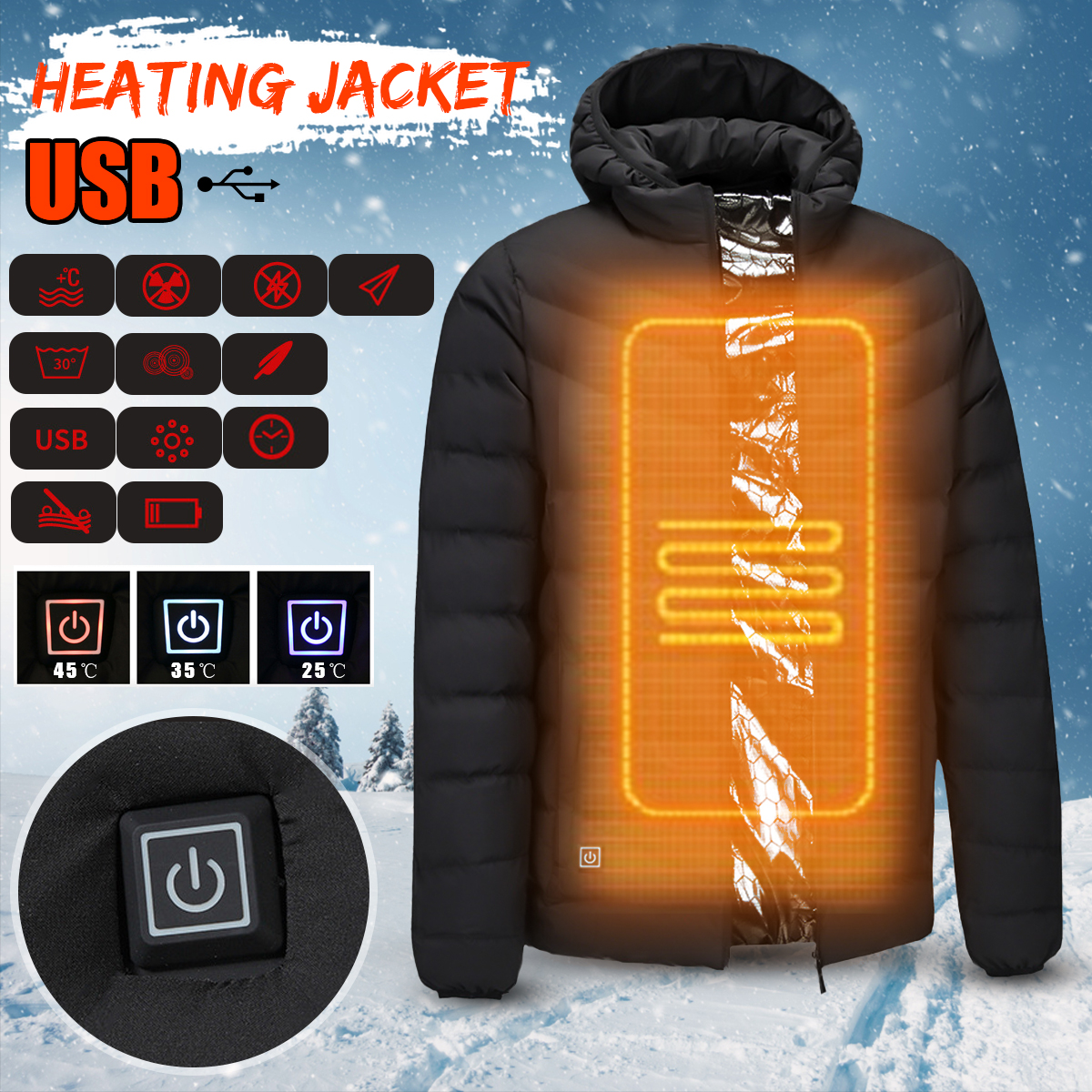 Mens Winter Heated Safety Vest Jacket USB Hooded Work Heating Jacket Vest Coats Adjustable Temperature Control Safety Clothing