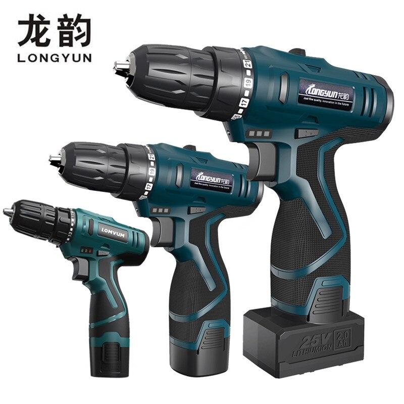 Longyun nuevo 12 V 16,8 V destornillador eléctrico de la batería de litio recargable Diy 25 V destornillador inalámbrico taladro eléctrico conductor