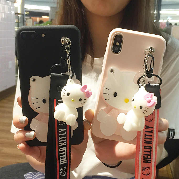 Cartoon Mirror Hello Kitty Soft Cases stander+Strap For iphone X 6 6S 7 7Plus 8 8Plus 5 5S SE 6plus with Lanyard