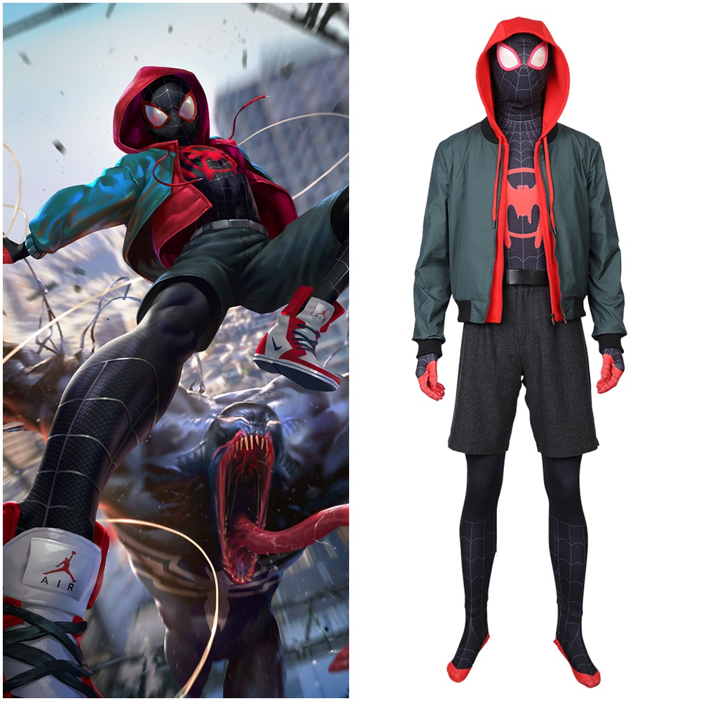 New Spider Man: Into the Spider Verse Miles Morales Cosplay Costume Jacket Outfit