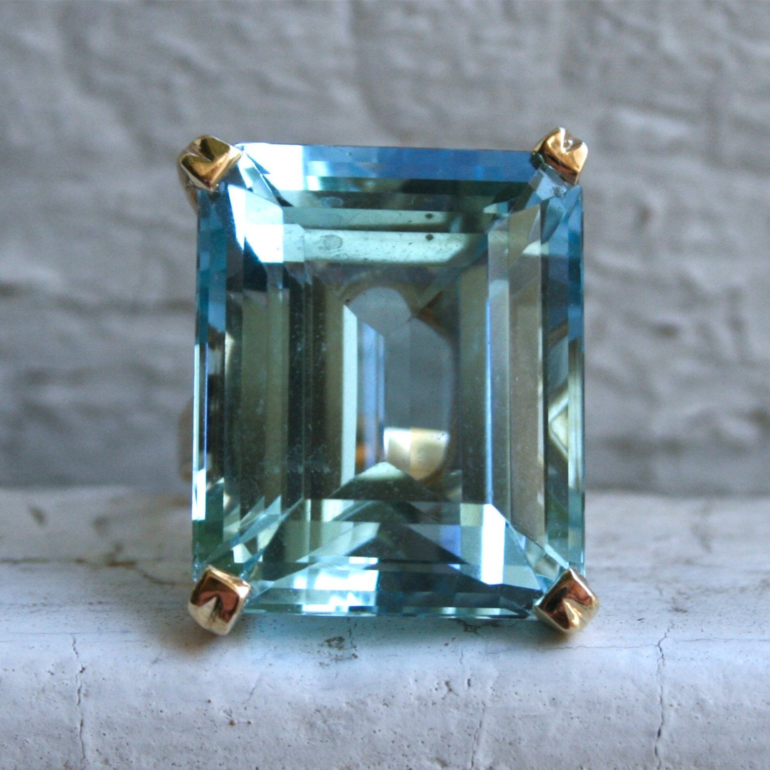 Sea Blue Topaz Stone Princess Diamond Ring Engagement Sapphire Ring 14K gold Anillos for women Bizuteria jade diamond jewelry(China)
