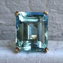 Sea Blue Topaz Stone Princess Diamond Ring Engagement Sapphire 14K gold Anillos for women Bizuteria jade diamond jewelry