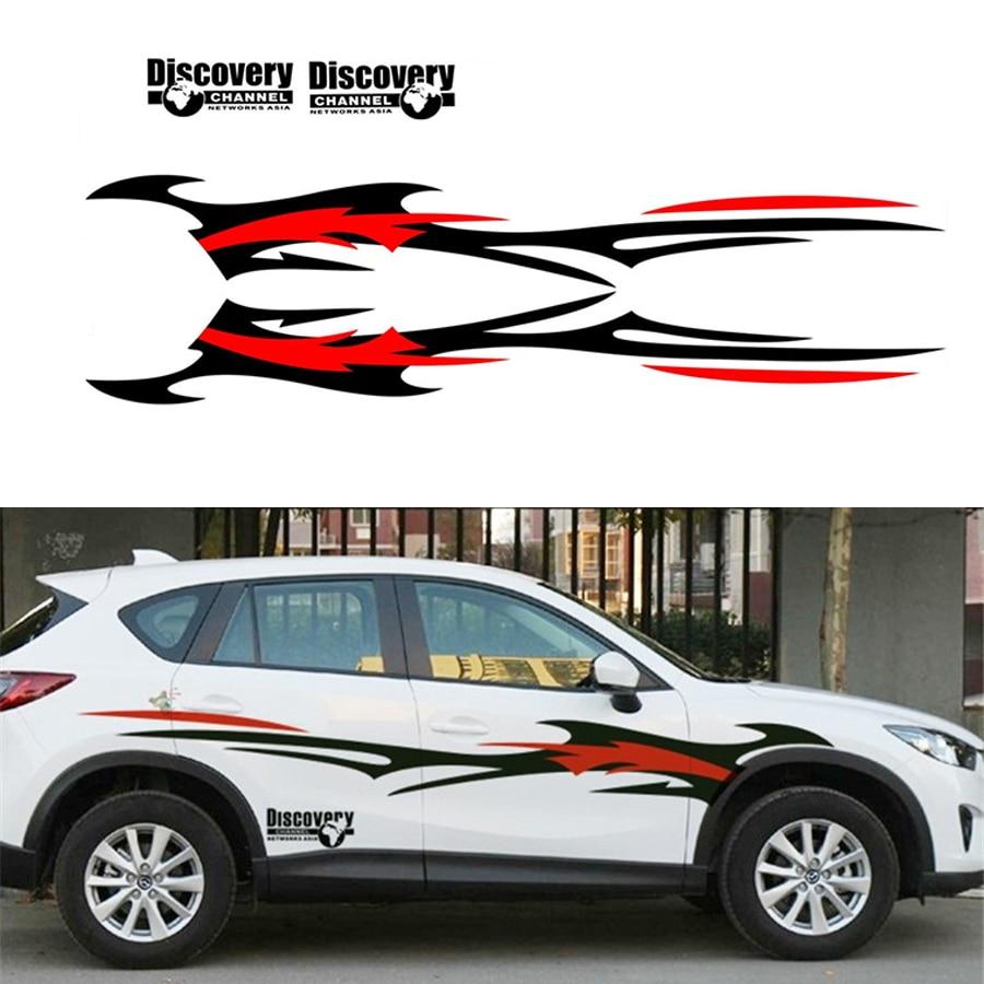 2Pcs Car Styling Side Body Decal stickers Vinyl Black-Red Flame Wheel DIY Waterproof
