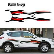 2Pcs Car Styling Side Body Decal stickers Vinyl Black-Red Flame Wheel DIY Waterproof цена в Москве и Питере
