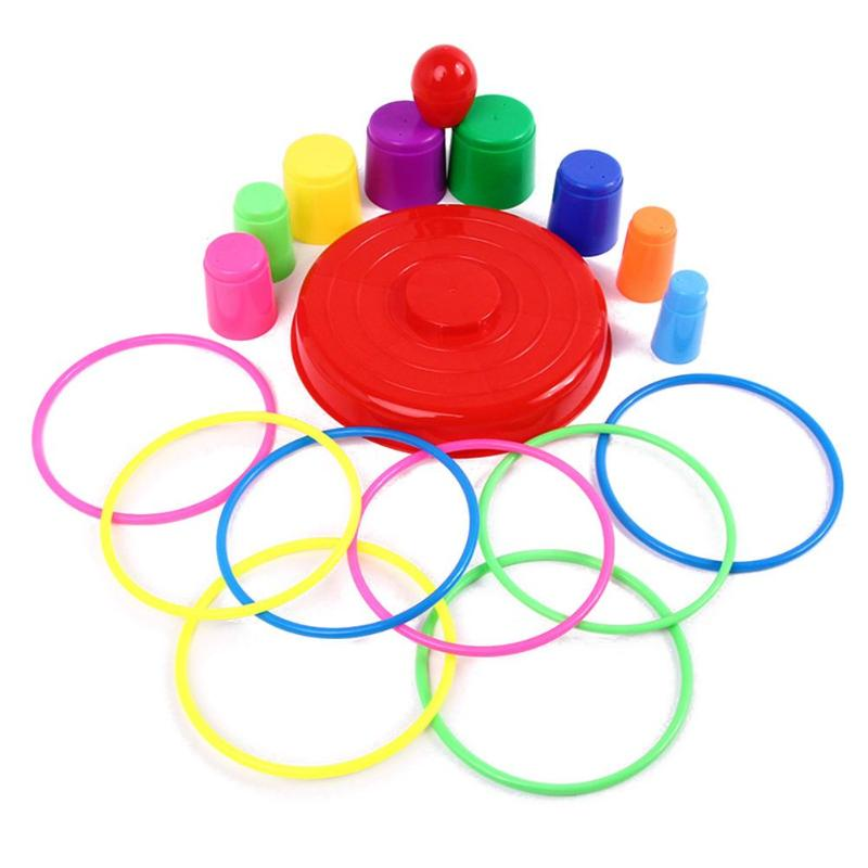 Fun Toddler Throwing Circle Toys Colorful Baby Stacking Toys Safe Plastic Kids Throwing Rings Set Parent-Child Interactive Game