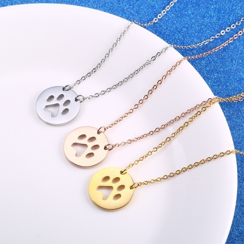 2019 Gold Animal Dog Pet Paw Necklace Stainless Steel Cute Dog Necklaces Paw Print Round Coin Pendant Jewelry For Women in Chain Necklaces from Jewelry Accessories