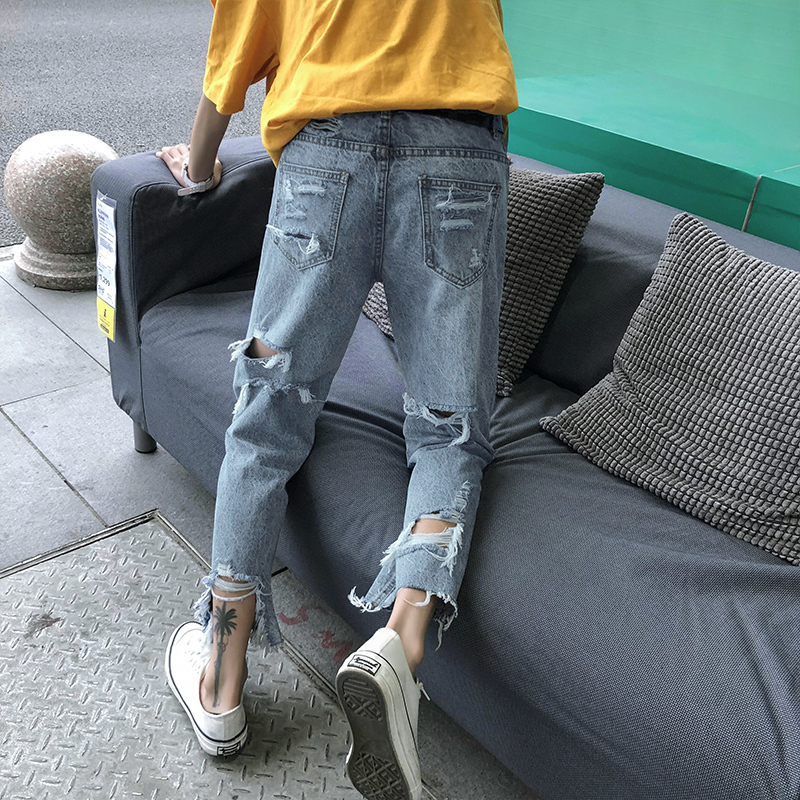 Summer New Jeans Men Fashion Torn Holes Casual Denim Pants Man Streetwear Trend Wild Hip Hop Loose Trousers Male Clothes